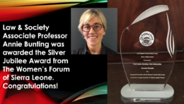 Annie Bunting's award from The Women's Forum of Sierra Leone